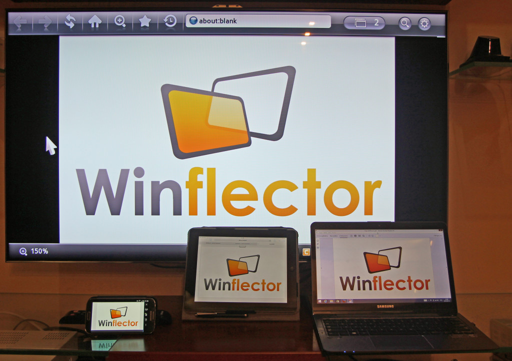 Adobe Reader under Winflector on Samsung Smart TV, Samsung Galaxy S4, iPad and a Windows laptop