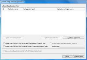 applications dialog