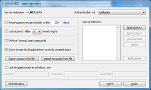 user accounts configuration